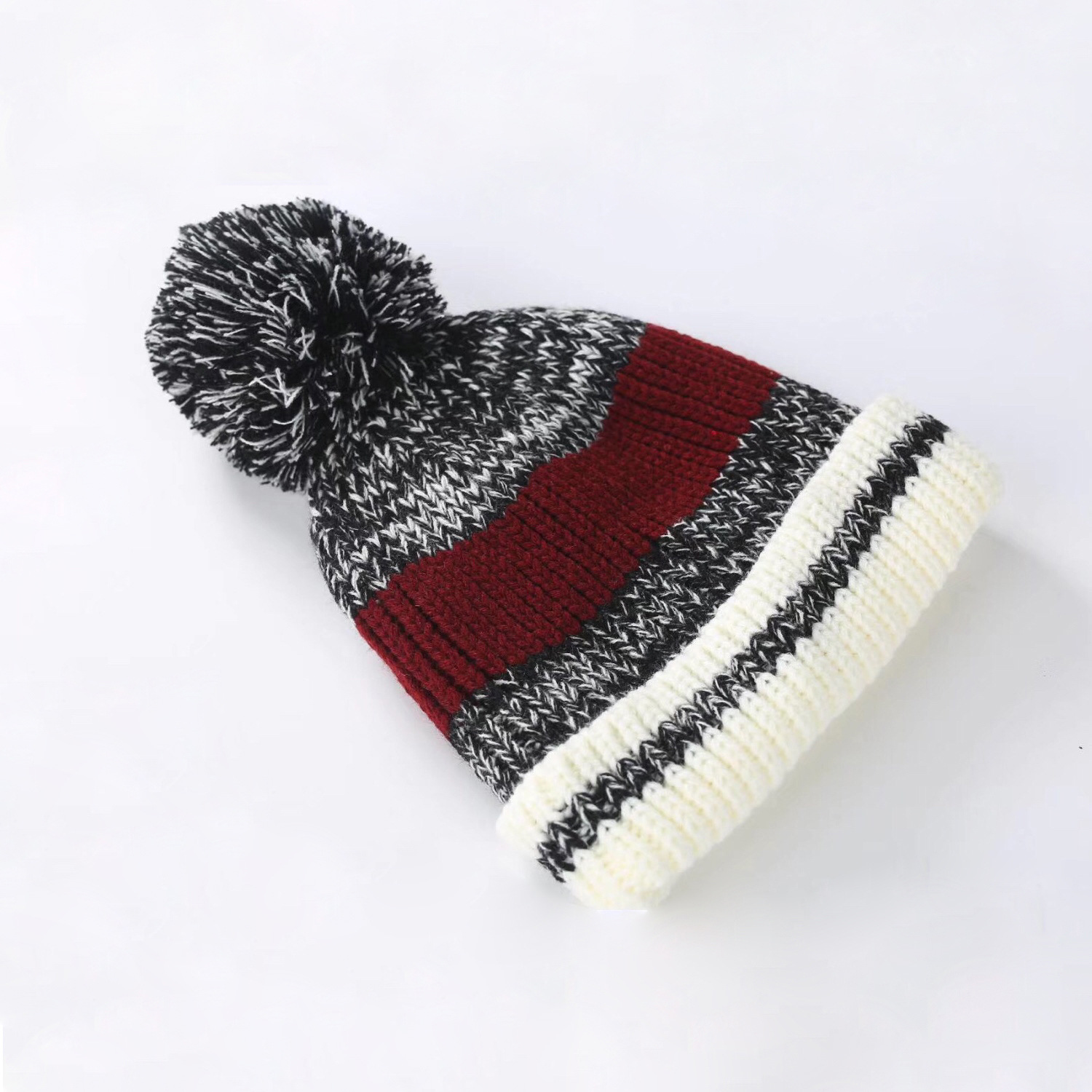 Men Women Knitting Pompom Beanies Cap Velvet Warm Outdoor Simple Wool Beanie Winter Knitted Women Hat