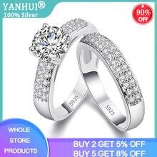 Yanhui 100% оригинальный 925 серебро натуральный циркон набор