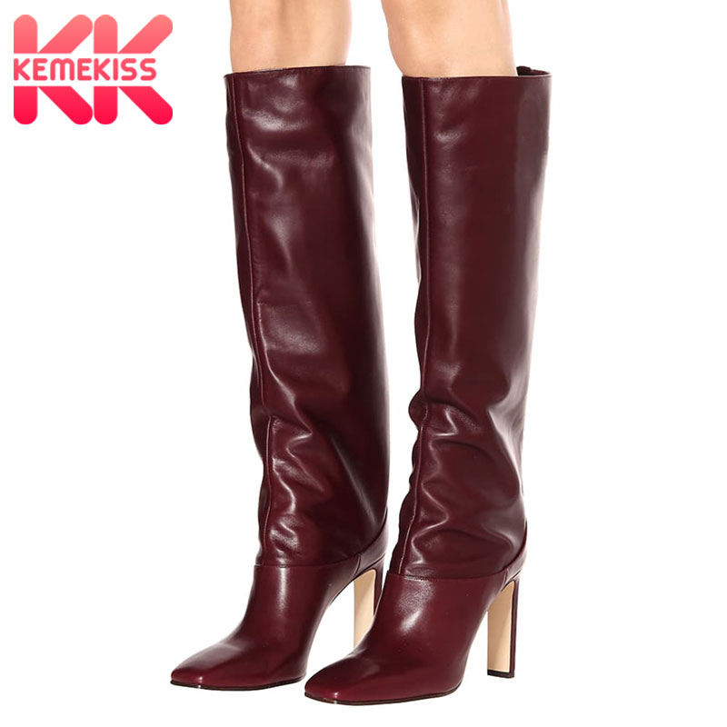 KemeKiss Plus Size 35-48 Knee High Boots Women New Design Fur Warm Winter Shoes Women Fashion High Heel Botas Woman Footwear