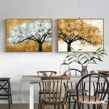 Golden Silver Rich Tree Modern Canvas Paintings Abstract Art for Living Room Posters And Prints Landscape Pictures  Unframed