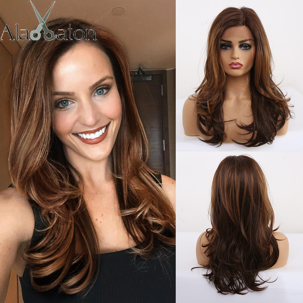 ALAN EATON Long Wavy Synthetic Hair Lace Part Wig For Black Women Brown Black Cosplay Wigs Synthetic Lace Front Wig Side Part