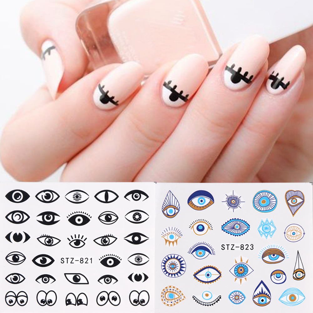 1pc Black Leopard Nail Stickers Water Transfer Decals Decoration Eyes Flower Wraps Slider For Nail DIY Tip Manicure SASTZ815-855