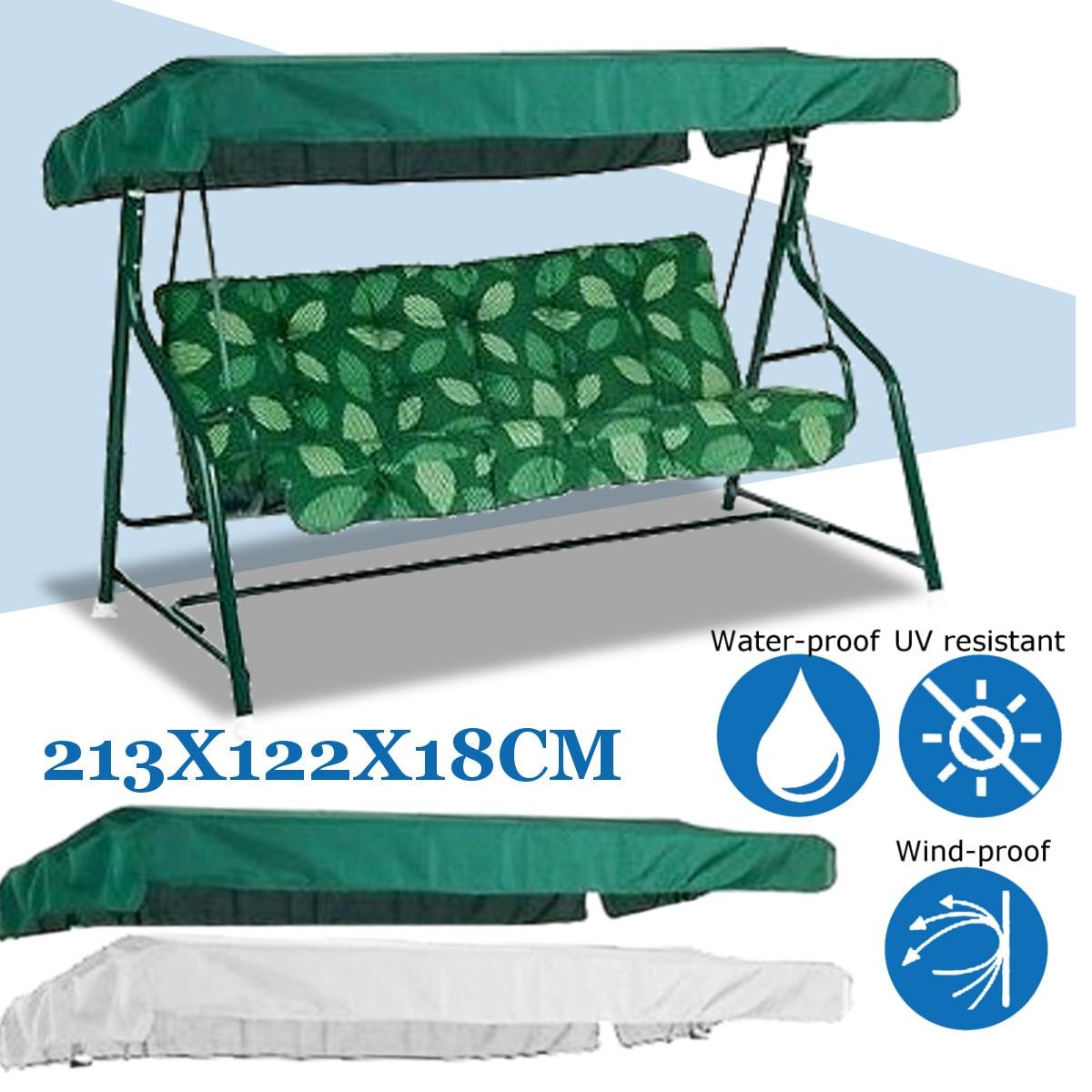 Silla Columpio de jardín cubierta de toldo sombra vela impermeable Anti UV de polvo silla superior al aire libre dosel reemplazo patio 213X122cm
