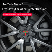 Car Wheel Center Hub Cap for Tesla Model 3 2021 Five Claw Emblem Sticker Car Accessories Nut Hub Cover for Tesla Model3 Dropship