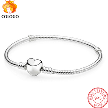 COLOGO Luxury 100% 925 Sterling Silver Sparkling Heart Snake Chain Fit Original Charm Bracelet & Bangle For Women Fine Jewelry authentic 925 sterling silver bead charm snake chain fit original pans bracelet with glue heart clasp for women diy jewelry