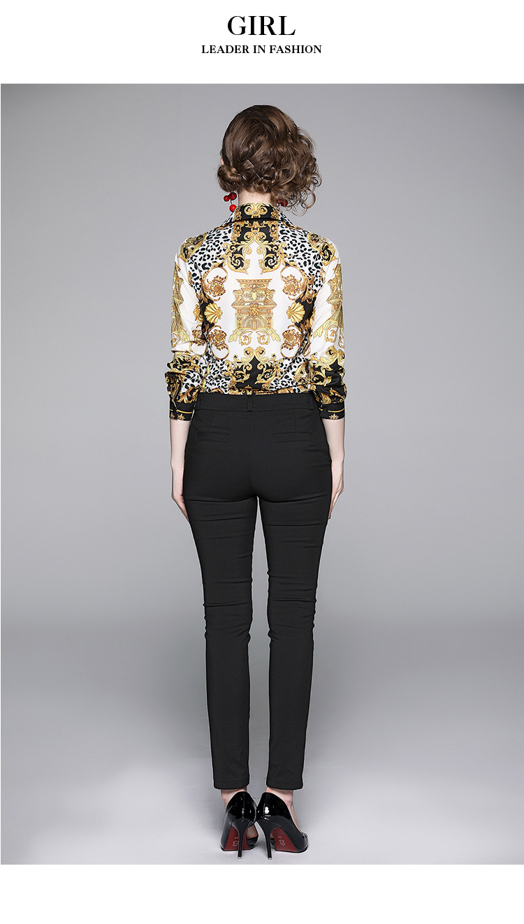 Elegant Leopard Print Women Blouse Shirt 6