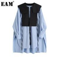 EAM-blusa larga de talla grande para primavera y otoño, camisa holgada de manga larga con cuello redondo para mujer, color azul, 1X740