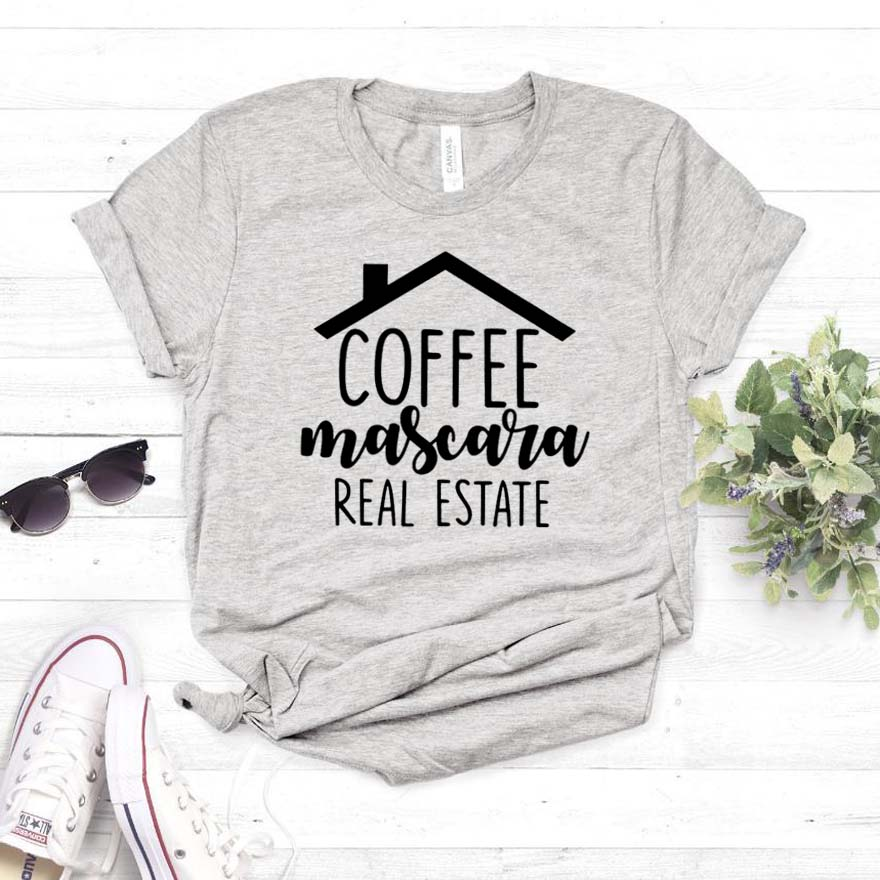 Coffee Mascara Real Estate Print Women Tshirt Cotton Casual Funny T Shirt For Lady Girl Top Tee Hipster Drop Ship NA-266