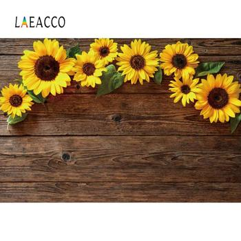 Laeacco Old Wooden Board Planks Sunflowers Pet Baby Newborn Doll Portrait Photography Background Photo Backdrop Photocall