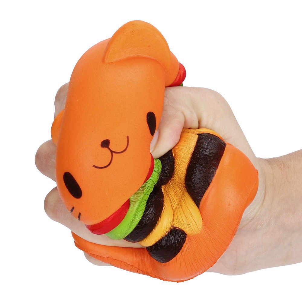 2019 nuevo amarillo Jumbo gato de dibujos animados hamburguesa perfumado lento aumento exquisito chico suave hamburguesa molde casa Decoración