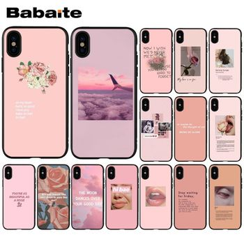 Babaite Vintage Pink Aesthetics songs lyrics Soft TPU Phone Cover for iPhone 5 5S SE x 6 7 7plus 8 8Plus X XS MAX XR 11 11pro image