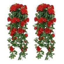 Искусственные розы поддельные цветы Висячие растения стены дома корзина для балкона Декор-пакет 2