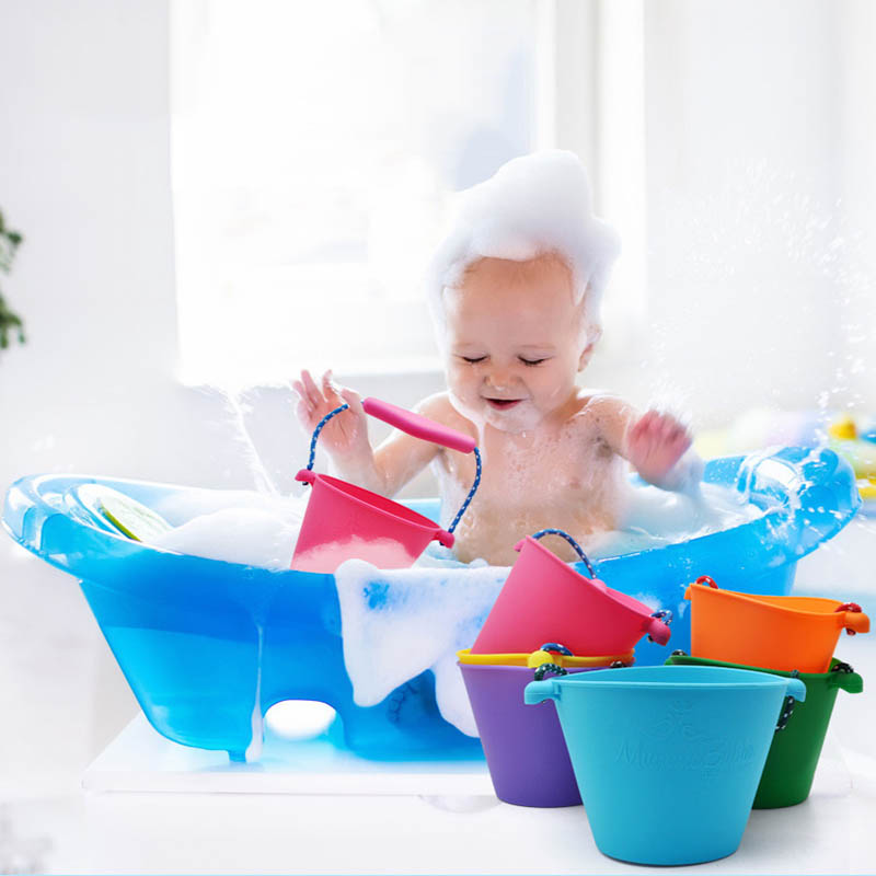 Folding Multi-purpose Beach Bathing Bath Silicone Bucket Children's Or Kids Baby Toys Summer Seaside Essential Water Games