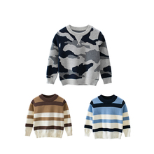 CYSINCOS Autumn Winter Boy Sweater Pullover Kids Striped Ribbed Knitting Boys Tops Clothes Children Soft Clothing Outfit