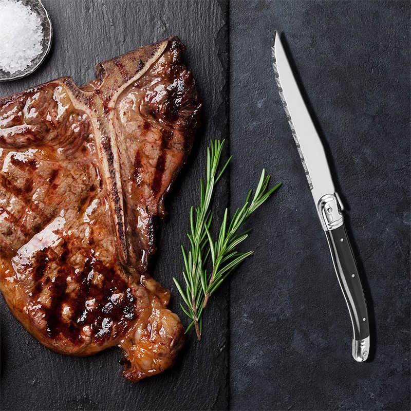 9 ''Laguiole Steak couteaux couverts noirs dîner couteaux acier inoxydable vaisselle Restaurant Bar cuisine vaisselle ensemble 4/6/10 pièces