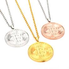 Moda legal ouro rosa ouro cor de prata btc bitcoin forma metal pingente colares para homens mulheres amigos fãs jóias presente