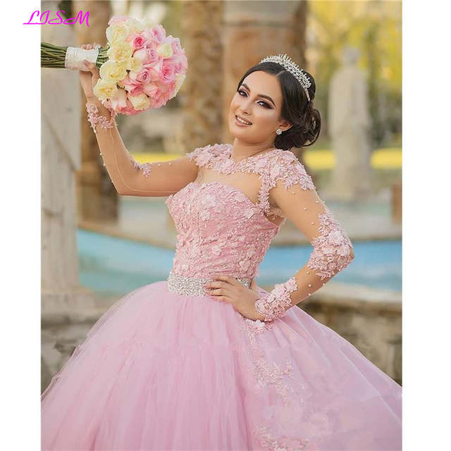 Us 16093 23 Offpink Sweet 16 Quinceanera Dresses Vintage Lace Long Sleeves 3d Floral Vestidos 15 Anos Plus Size Ball Gown Pageant Prom Gowns On
