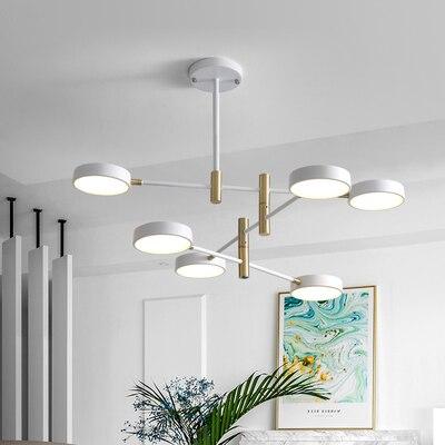 Simple Personality Creative Design LED Pendant Light Nordic Home Wrought Iron Set Hall Rotating Shape Pendant Lamp