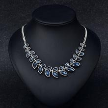 Clavicle Women Necklace Exaggerated Full Leaves Crystal Gem Pendant Color-preserving Vacuum Plating Necklace Jewellery dominated women pendant necklaces a short section of pearl necklace and exaggerated fashion multi clavicle necklace