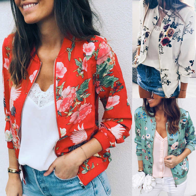 Vertvie Autumn Women Sports Coat Spring Hooded Jacket Solid Long-Sleeved Baseball Floral Printed Coat Casual Short Outwear