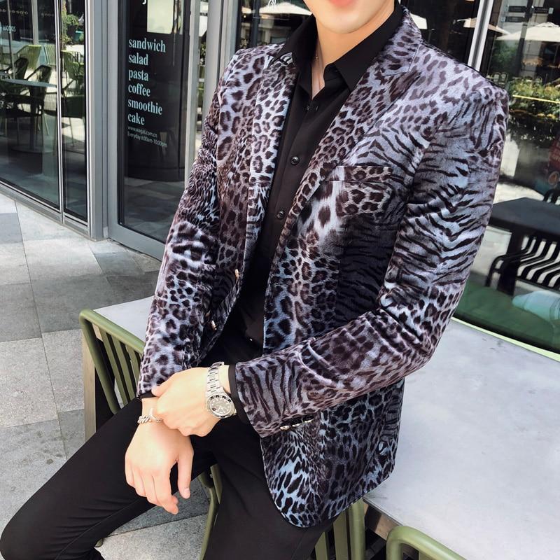Evening Dress 2019 Autumn Winter Blazer Men High Quality Sexy Leopard Print Suit Jacket Men Long Sleeve Slim Fit Casual Blazer