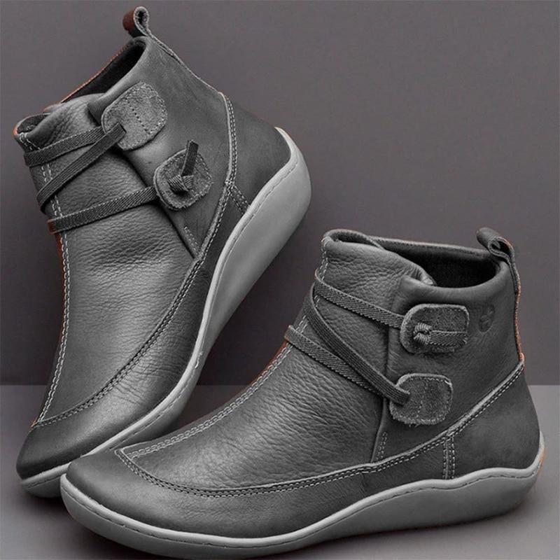 Vintage Leather Boots Women Ankle Boots Winter Shoes Woman Autumn Shoes Female Boots Plus Size Botas Women Booties Footwear