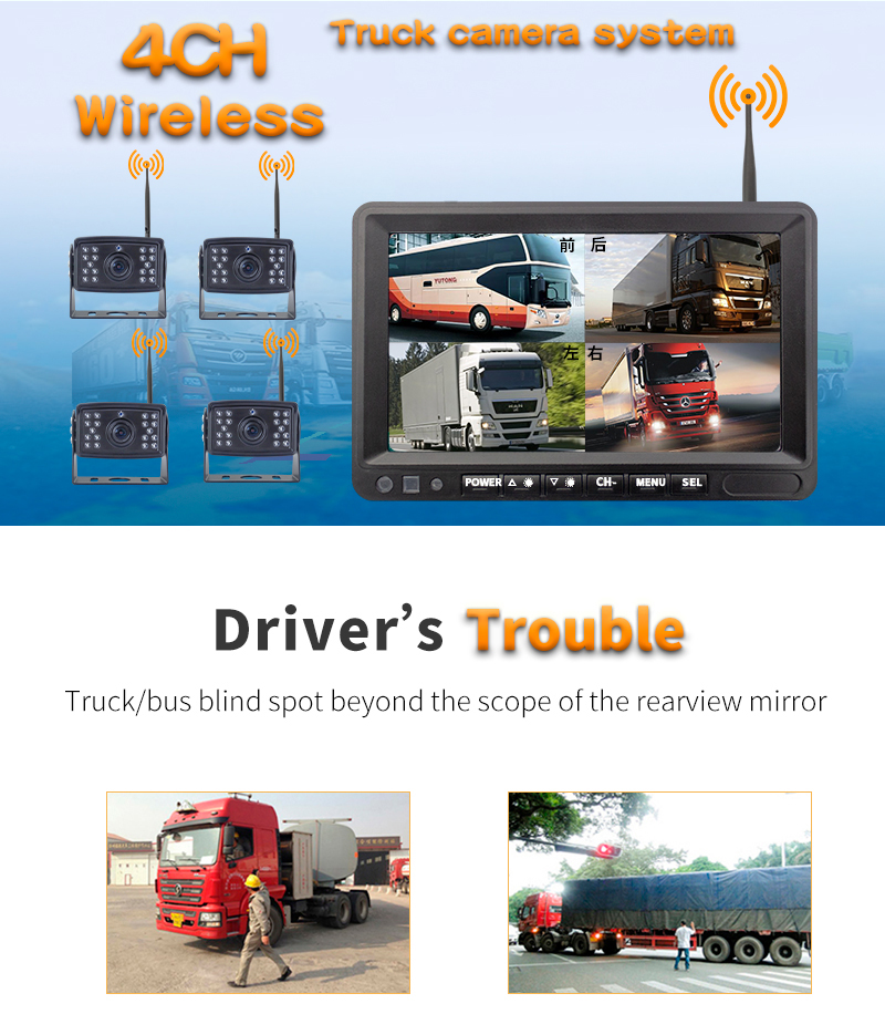 Wireless Rv Truck Trailer Bus Forklift 4 Channel Video Record 7 Inch Monitor Infrared Reverse Backup Quad View Camera System 17
