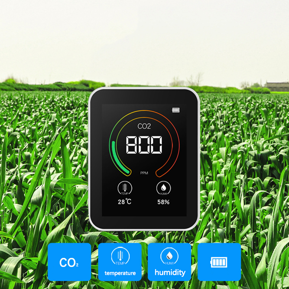 Tools : CO2 meter Intelligent Big Screen CO2 Temperature Humidity Multipurpose Detect Tool Testing Instrument Home Air Quality Monitor