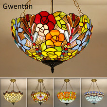 Tiffany Stained Glass Pendant Light Home Deco Mediterranean Hanging Lamp for Living Room Bedroom Modern Light Fixtures Luminaire