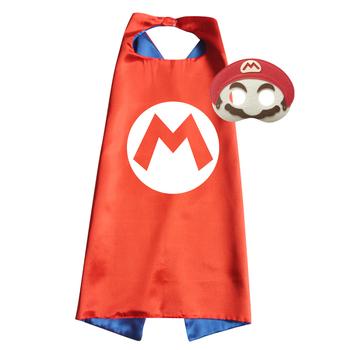 Super Mario kostium satynowe peleryny z filcowymi maskami Halloween świąteczny wielkanocny prezent na święto dziękczynienia tanie i dobre opinie Airydeer Topy Płaszcz Other Anime Unisex Dzieci Poliester C265
