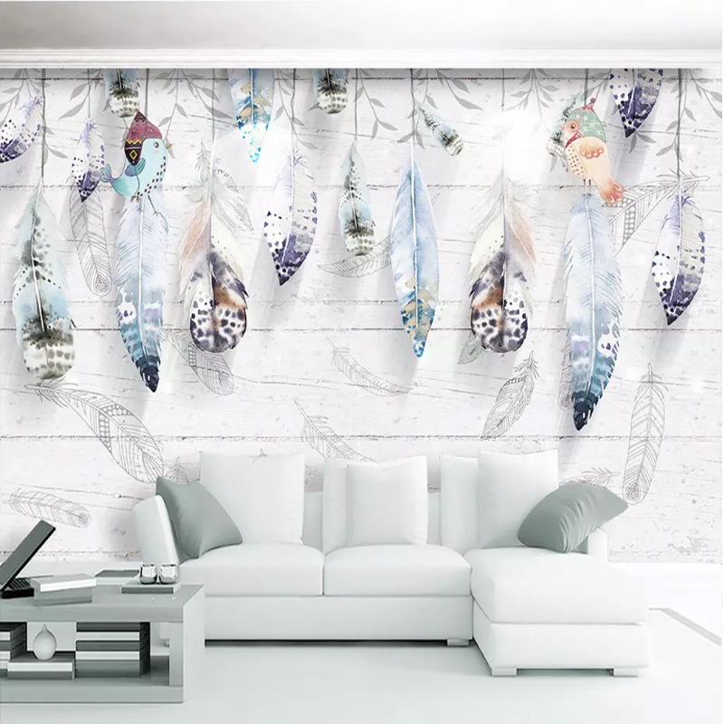 3D Modern Minimalist Northern European-Style Hand-Painted Abstract Beautiful Feather TV Background Wallpaper Living Room Bedroom