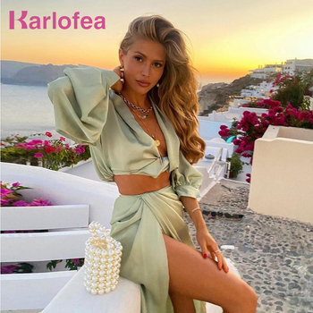 Karlofea 2 Piece Set Women Summer Beach Vacation Outfits Sexy Cropped Blouse Shirts High Split Long Skirt Matching Suit Clothes 1