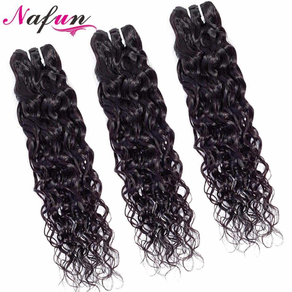 Extensiones con ondas al agua pelo brasileño tejido no Remy coser en extensiones de cabello humano Color Natural 3 mechones de cabello NAFUN