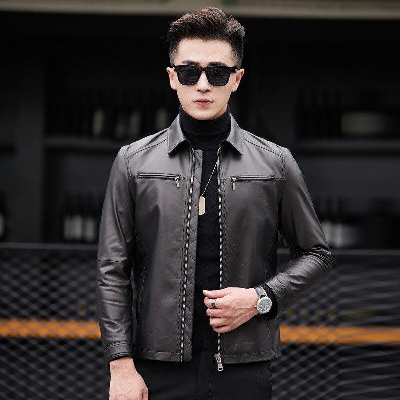 Leather Jacket Sheepskin Genuine Leather Coats Men Short Spring Autumn Leather Jackets Cuero Genuino 81X88007 YY275