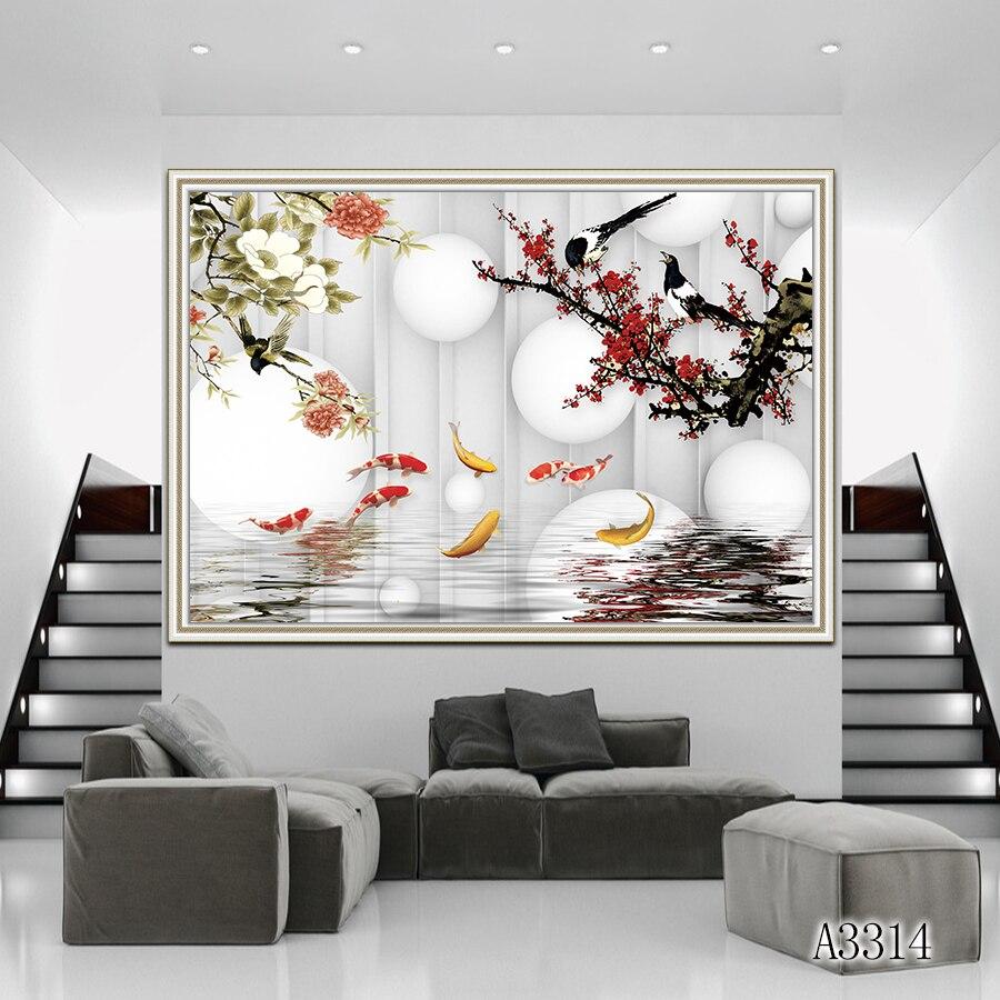 Peinture à l'huile abstraite impression sur toile style chinois poisson Animal et fleur toile Art impression mur Art photo pour la décoration intérieure