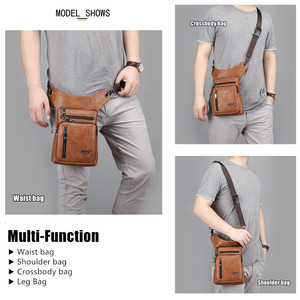 Image 2 - JEEP BULUO Multi function Men Bags Small Crossbody Shoulder Bag Split Leather Fashion Leg waist bag Totes New Young Male Mini