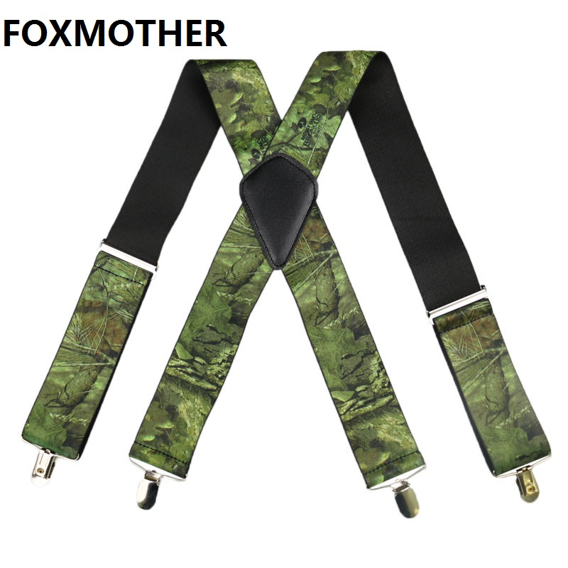 FOXMOTHER Men Military Suspenders Male Wide 5cm Camouflage Suspender Man's Brace