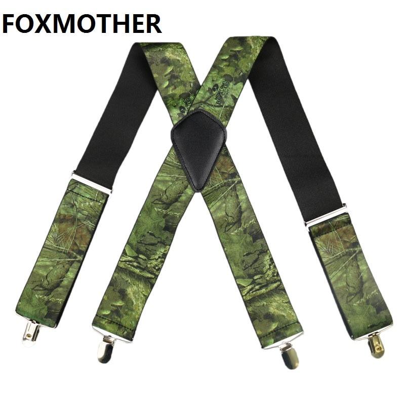 FOXMOTHER Men Military Suspenders Male Wide 5cm Camouflage Suspender Man's Brace