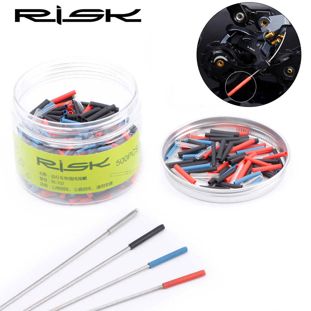 RISK 30pcs/lot Heat Shrink Cap Bicycle Brake Shifting Cable Tips Crimp MTB Road Bike Derailleur Brake Line End Cover Accessories