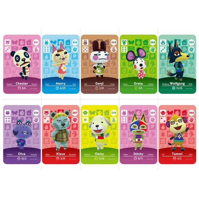 Serie 3 (241 a 270) Tarjeta de cruce Animal Amiibo trabajo de la tarjeta para el juego NS Nuevos Horizontes Wolfgang Marshal Drago Villager Card