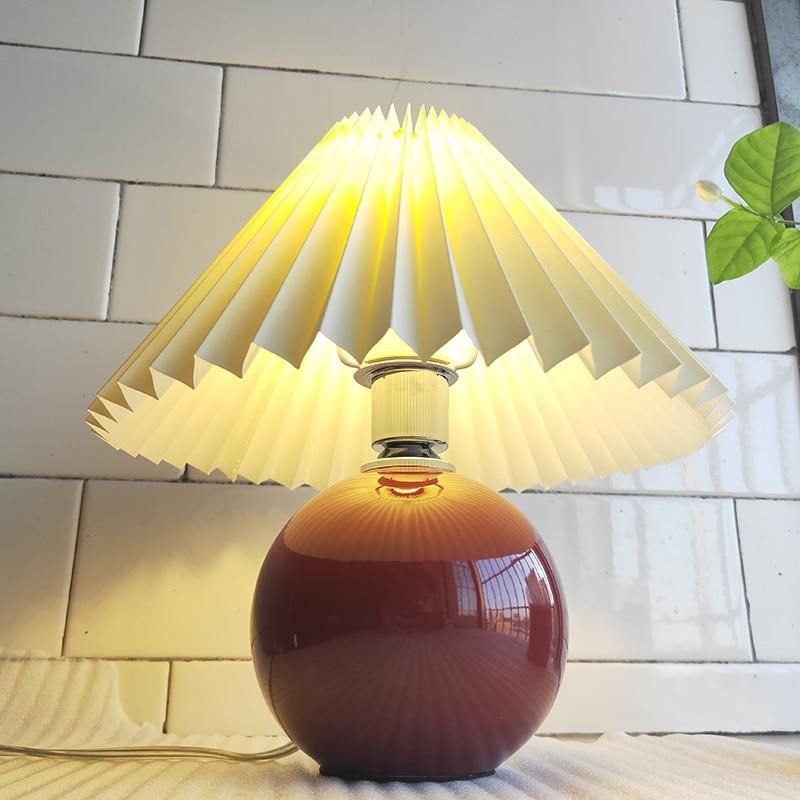 Плиссированная настольная лампа в стиле ретро корейские настольные