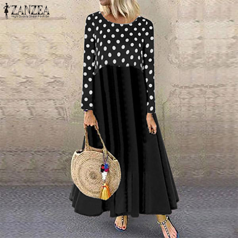 2019 ZANZEA Autumn Women's Patchwork Printed Maxi Dress Fashion Sundress Casual Long Sleeve Vestidos Female Polka Robe Oversized