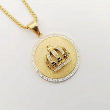 Цепочка с подвеской Стразы в виде короны объемное ожерелье из