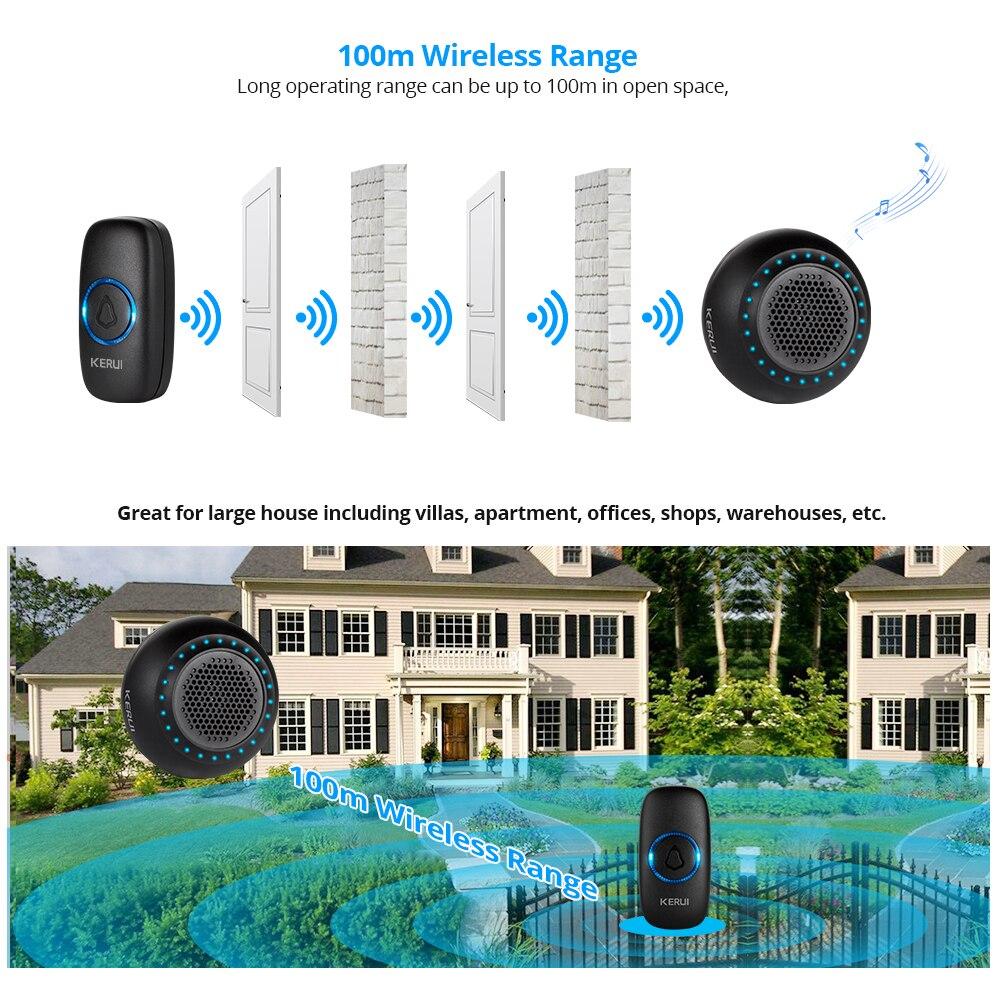 Купить с кэшбэком KERUI M523 Wireless Doorbell Home Waterproof Door Button Colorful LED Lights Household Wireless Door Bell 433MHz Press Button