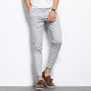 Image 1 - BROWON סתיו אופנת גברים מוצק צבע מכנסי קזואל גברים ישר קל אלסטי קרסול אורך רשמית באיכות גבוהה מכנסיים גברים