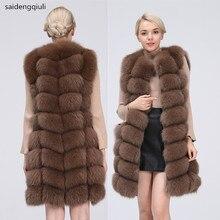 Naturalna prawdziwa kamizelka futrzana z lisa naturalne futro dla kurtki damskie płaszcze kamizelka kamizelka długie futro płaszcz z prawdziwego futra lisa kamizelka