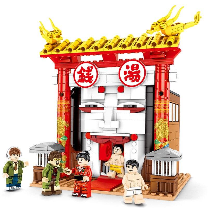 Movie City Street View Architecture 690PCS Chinatown Detective 3 Building Block Educational Assemble Toy 605103