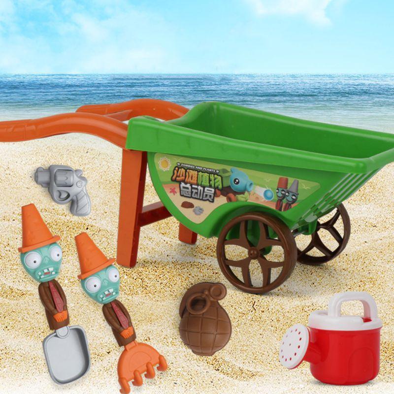 7 Pcs/set Kids Summer Beach Toys For Sand Mini Trolley Shovel Sand Rake Mold Sprinkler Crab Fish For Building Sand Castles