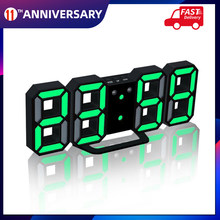 3D LED Digital Clock Glowing Night Mode Brightness Adjustable Electronic Table Clock 24/12 Hour Display Alarm Clock Wall Hanging