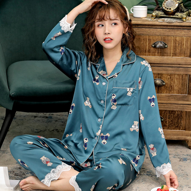 Lisacmvpnel Satin Chiffon Sweet Women Pajamas Long Sleeve Lace Twinset Printed Pajama Set